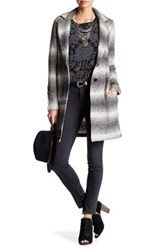 Lucky Brand Ombre Knit Car Coat Gray
