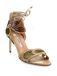 Brian Atwood Gabriella Grommeted Laser Cut Leather Ankle Wrap Sandals Black