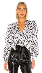 Kendall Kylie Charmeuse Blouse In White. Zebra