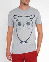Knowledge Cotton Apparel Grey Owl Logo Short Sleeve T Shirt