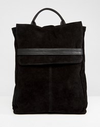 Asos Design Suede Belted Flap Backpack Black