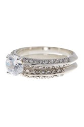 Covet Cz Pave Accented Square Cut Gem Ring Set Gray