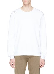 The Editor Stripe Zip Outseam Sweatshirt White