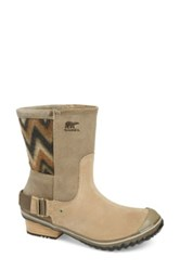 Sorel 'Slimshortie Tm ' Chevron Waterproof Boot Women Beige
