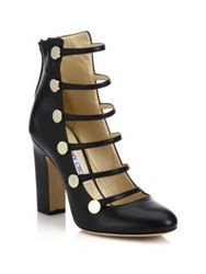 Jimmy Choo Venice 100 Strappy Leather Block Heel Pumps Black