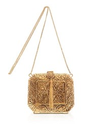 From St Xavier Lace Pattern Metal Clutch Gold
