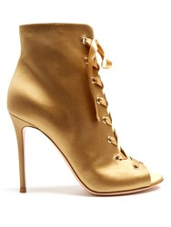 Gianvito Rossi Satin Lace Up Boots Gold