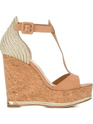 Paloma Barcelo High Heel Wedge Sandals Nude And Neutrals