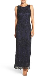 Pisarro Nights Women's Embellished Mesh Column Gown Black Navy