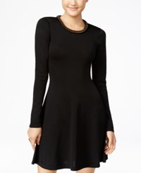 Xoxo Juniors' Embellished Fit And Flare Sweater Dress Black