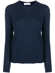 Pringle Of Scotland Round Neck Knitted Jumper Blue