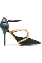 Malone Souliers Veronica Leather Trimmed Suede And Snake Pumps Emerald