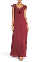 Paper Crown Women's By Lauren Conrad Print Crepe Ruffle V Neck Gown Spiced Wine