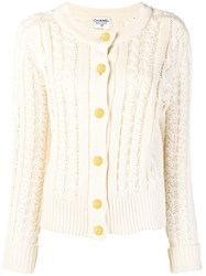 Chanel Vintage Cable Knit Buttoned Cardigan Nude And Neutrals