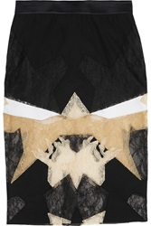 Givenchy Black White And Beige Patchwork Lace Skirt