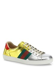 Gucci New Ace Snakeskin Low Top Sneakers