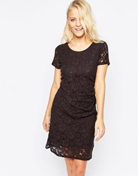 B.Young Short Sleeve Lace Shift Dress Navy