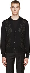 Alexander Mcqueen Black Embroidered Floral Cardigan