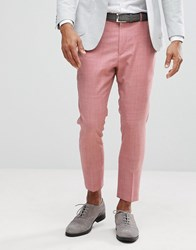 Asos Wedding Tapered Smart Trousers In Pink 100 Wool Pink