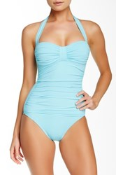 Tommy Bahama Pearls Halter Full Coverage One Piece Blue