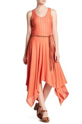 Cullen Sheer Stripe Handkerchief Hem Dress Orange