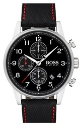 Boss Men's Navigator Chronograph Leather Strap Watch 44Mm Black Black