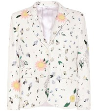 Thom Browne Embroidered Cotton Tweed Blazer White