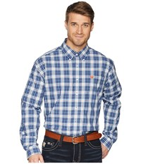 Cinch Long Sleeve Plain Weave Plaid Navy Clothing