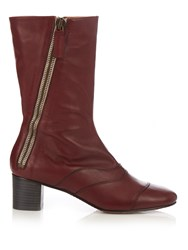 Chloe Lexie Leather Ankle Boots Burgundy
