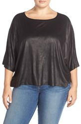 Plus Size Women's Bb Dakota 'Frieda' Faux Leather Dolman Sleeve Top Black