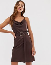 River Island Slip Dress With Belt In Chocolate Brown