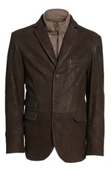 Flynt Distressed Leather Hybrid Coat Chocolate Brown