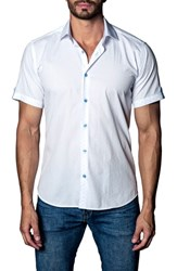 Jared Lang Print Sport Shirt White Blue Print