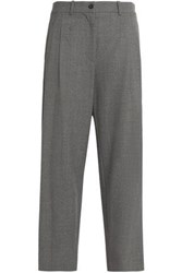 Stella Jean Velvet Trimmed Wool Blend Straight Leg Pants Gray