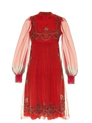 Alexander Mcqueen Paisley Print Babydoll Dress Red Multi
