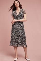 Anthropologie Penny Silk Midi Dress Blue Motif