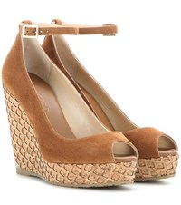 Jimmy Choo Pacific 120 Suede Wedge Sandals Brown