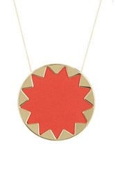 House Of Harlow Long Chain Sunburst Pendant Necklace Orange