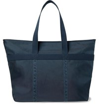 A.P.C. Logo Print Twill Trimmed Ripstop Tote Bag Navy