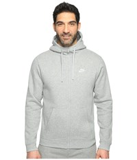Nike Club Fleece Full Zip Hoodie Dark Grey Heather Dark Grey Heather White Men's Fleece Gray