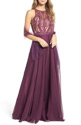Sean Collection Women's Collecion Embellished Gown Plum