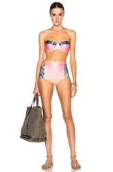We Are Handsome Palm Print High Waisted Bikini In Pink Floral Ombre And Tie Dye