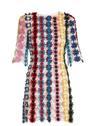 Mary Katrantzou Lenax Guipure Lace Mini Dress White Multi
