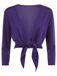 Kaliko Tie Front Shrug Dark Purple