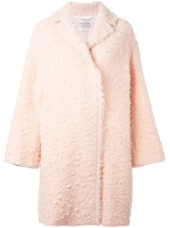 Forte Forte Textured Frayed Edge Coat Pink And Purple