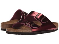 Birkenstock Arizona Soft Footbed Metallic Tourmaline Leather Women's Toe Open Shoes Brown
