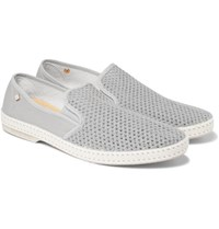 Rivieras Canvas And Cotton Mesh Espadrilles Gray