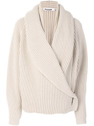 Jil Sander Ribbed Wrap Cardigan Women Cashmere Wool S Nude Neutrals