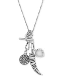 Lucky Brand Silver Tone Multi Charm Pendant Necklace