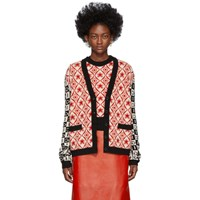 Gucci Black And Red Colourblocked G Cardigan